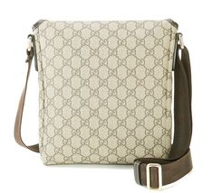 Authentic GUCCI Brown GG PVC Canvas and Leather Shoulder Bag Purse #33012 image 4