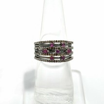 0.96 Ct Pave Diamond and Ruby Gemstone Silver Vintage Statement Ring Jew... - $98.01