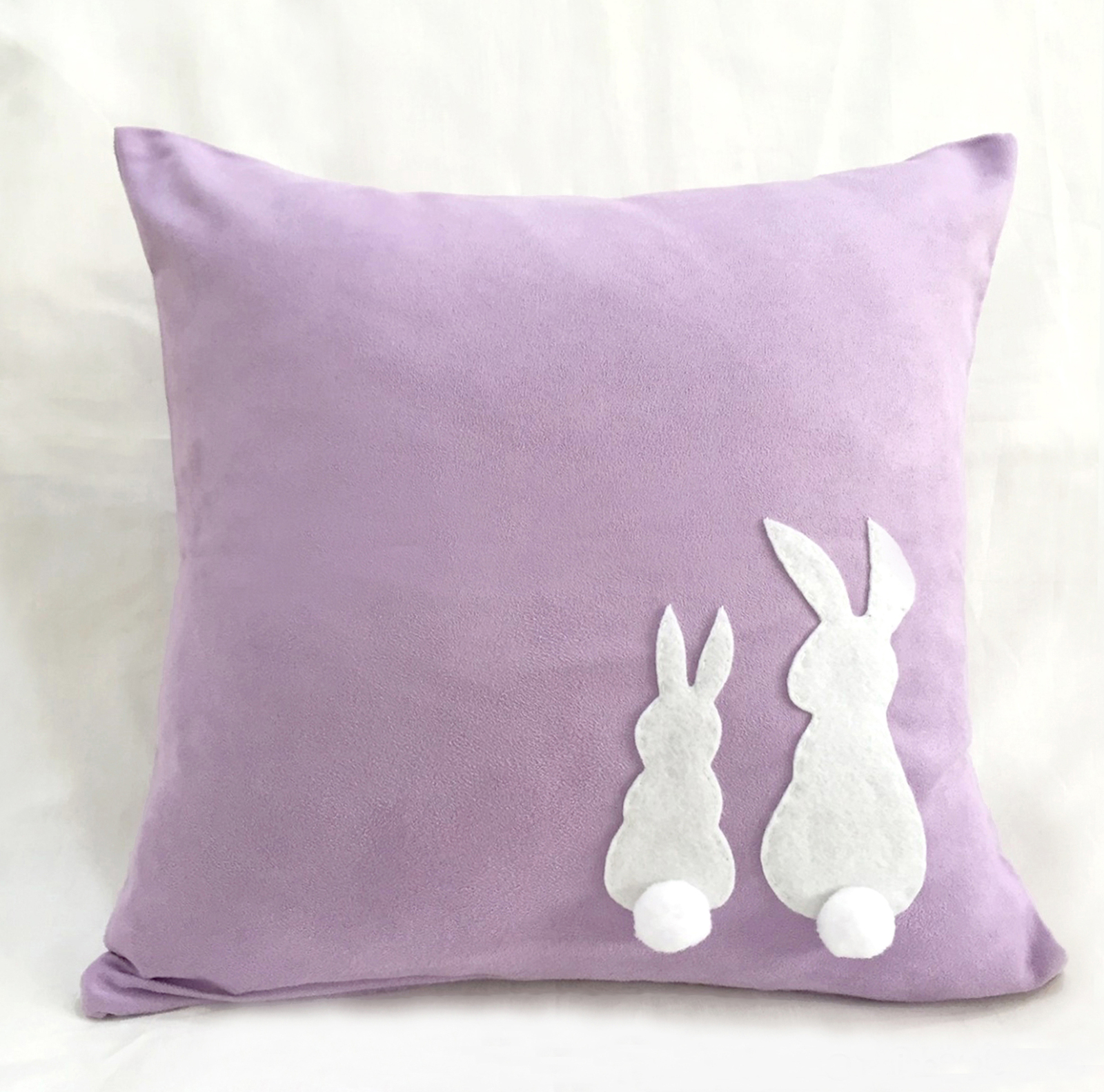 Handmade Two Cute Rabbits Pink Decorative Pillow Cover. Children Room Decor