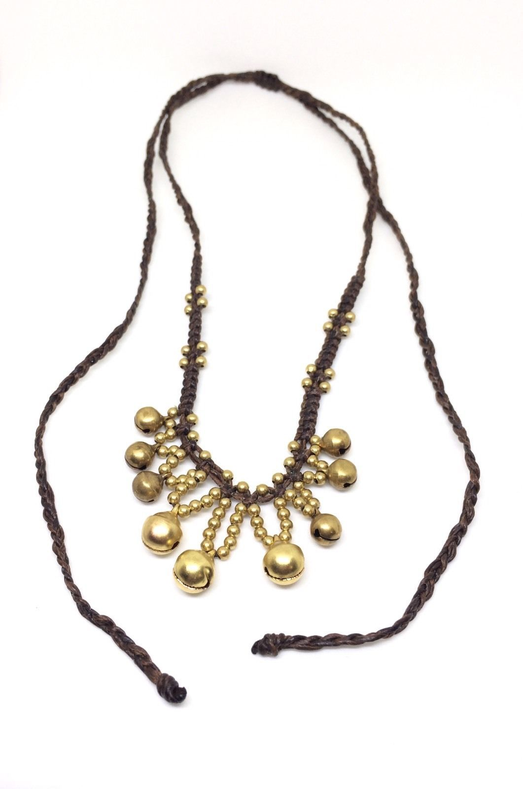 Brass Jingle Bell Bead Wax Cotton Pendant Choker Summer NECKLACE Asian Jewelry