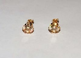 Vintage 14k Gold 8mm Champagne Strontium Titanate Stud Earrings 1.84 Gra... - $199.95