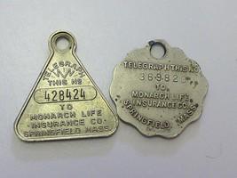 2 Estate MONARCH LIFE Insurane TELEGRAPH Springfield MA Charm TOKEN Key ... - $9.99
