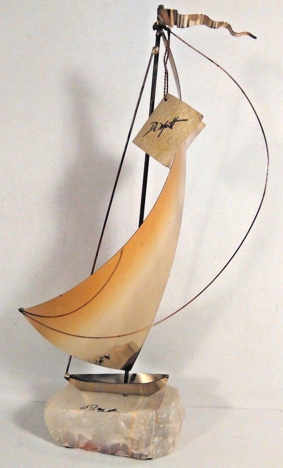 "VINTAGE RARE 1975 DE MOTT SIGNED BRASS SAILBOAT ON ONYX 13"" ORIGINAL TAG"