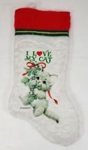 I LOVE MY CAT Ruth Morehead Christmas Stocking Kitten and Mistletoe - $12.99