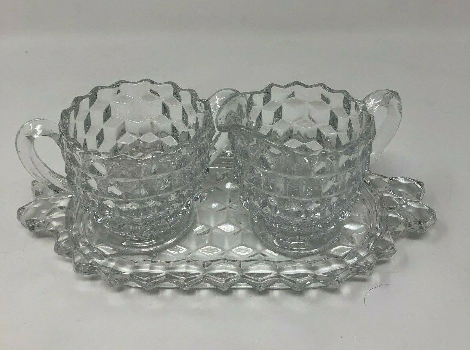 Primary image for Authentic Fostoria Clear Cubist Plate, Sugar Bowl & Creamer Set American (FOSCC)