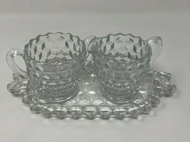 Authentic Fostoria Clear Cubist Plate, Sugar Bowl & Creamer Set American... - $19.28