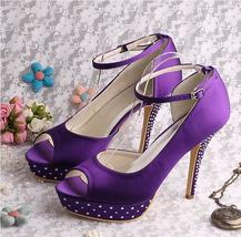 Wedding Shoes Crystal Bridal Sandals With Ankle Strap at Bling Brides Bo... - $129.99