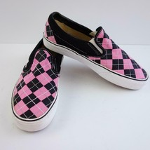 Vans Pink Black Plaid Slip On Canvas Shoes Mens Sz 8 - $22.24
