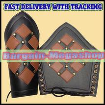 Leather Medieval Bracer Pair Gauntlet Arm Guard LARP Armour  - $38.99