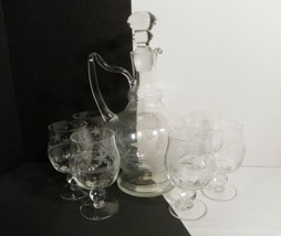 Crystal Cut Glass Grape Vine Decanter 7-pc Set with 6 Goblet (s) Romania - $69.25