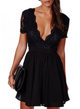 Black Lace / Chiffon / Deep Scalloped Neckline - Fit and Flare / Skater Dress - $22.00