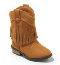 Chat & Jack Fille Acajou Marron Faux Daim Franges Cowgirl Ouest Boots Neuf