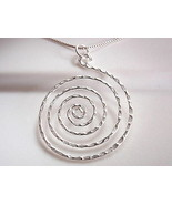 Hammered Spiral Pendant 925 Sterling Silver Corona Sun Jewelry  - $29.69