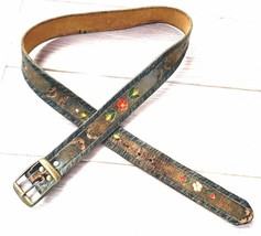 VTG 1970's Leather Hand Tooled Painted Floral Brown Ladies Belt Hippie B... - $68.31