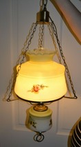 VINTAGE HANGING SWAG GONE WITH THE WIND HURRICANE VICTORIAN LAMP ~ ROSES - £107.96 GBP