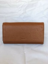NWT Fossil Emma Brown RFID Large Zip Around  Wristlet Leather Clutch Wal... - $64.35