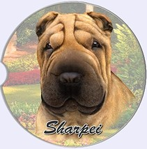 Sharpei Car Coaster Absorbent Keep Cup Holder Dry Stoneware Dog New Shar... - $10.88