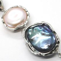 925 STERLING SILVER,THREE PEARLS BAROQUE STYLE,BLACK,PINK,ZIRCON,MADE IN ITALY image 3