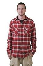 Kr3w Skateboard Hommes Rouge Grants Flanelle Long Manche Boutonné Bas Shirt Nwt