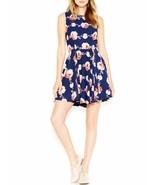 Maison Jules Tea Dress Sz S Blue Notte Combo Chiffon Pleated A-Line Casual  - €32,61 EUR