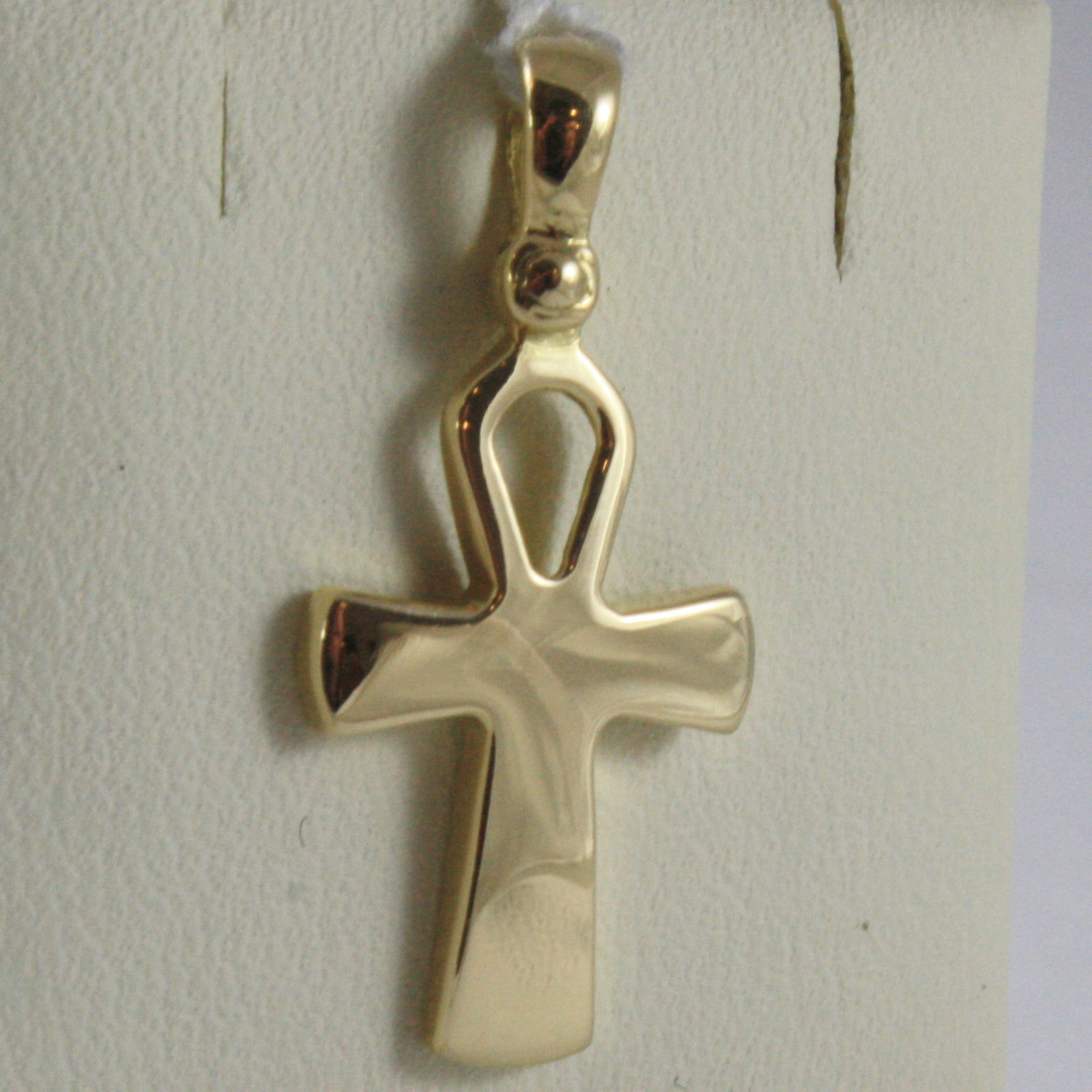 SOLID 18K YELLOW GOLD CROSS, CROSS OF LIFE, ANKH, SHINY, 1.02 INCH MADE IN ITALY