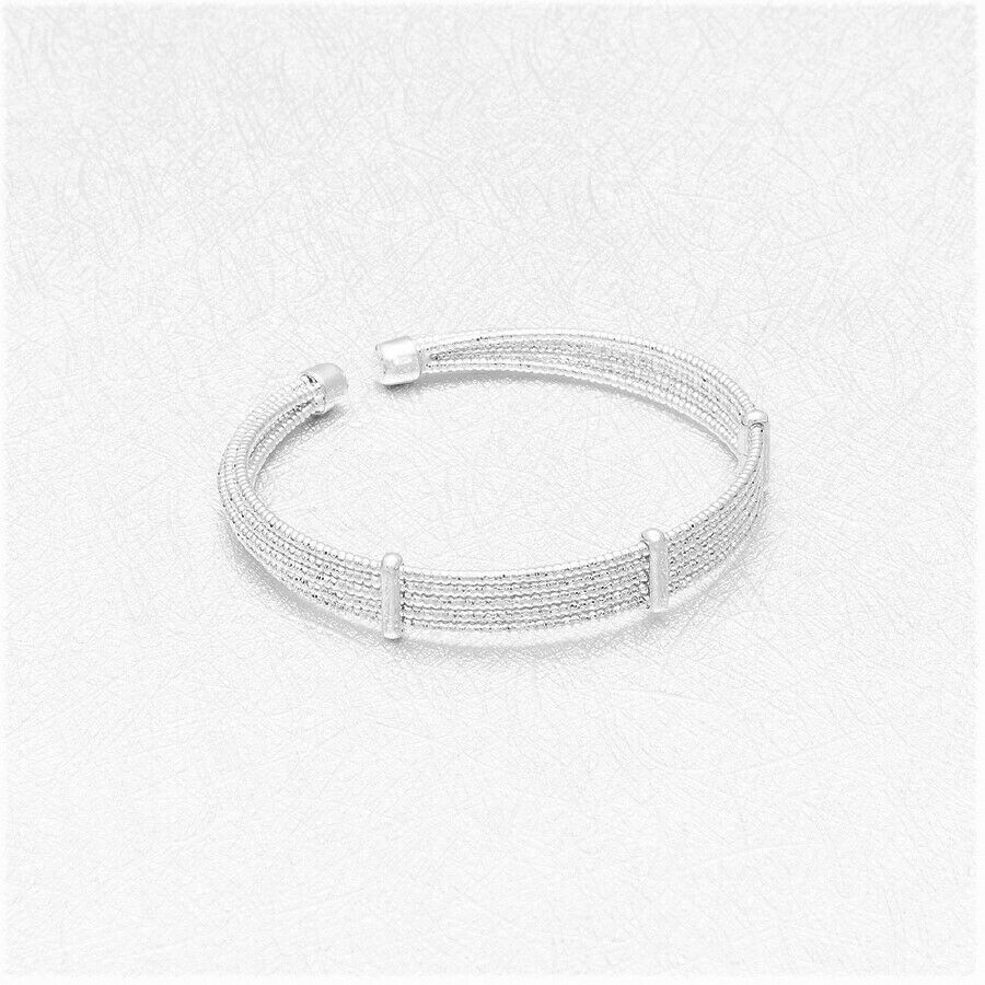 Primary image for Wide Five Row Open Bangle Bracelet Sterling Silver NEW