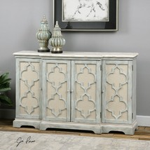 NEW VINTAGE STYLE BREAK FRONT WOOD CONSOLE CABINET FOUR DOOR BACKED TAN ... - $1,093.40