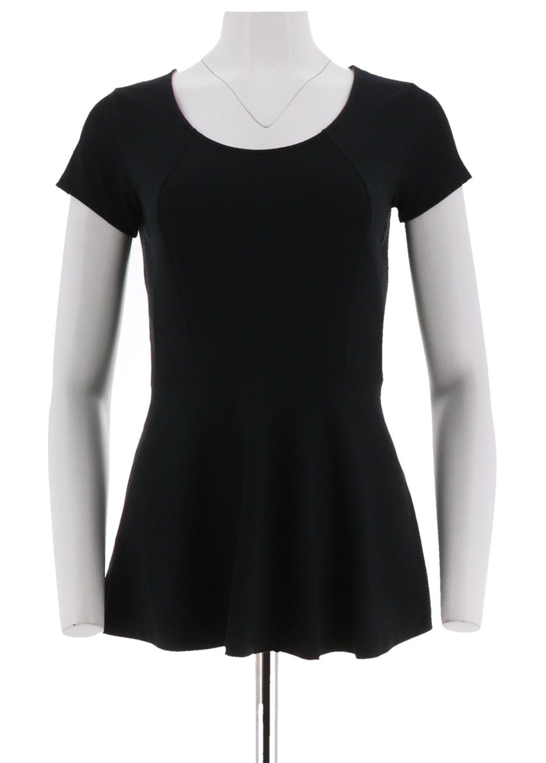 Primary image for Isaac Mizrahi Wake Up Comfortable Short Slv Peplum Knit Top Black XS NEW A265193