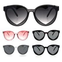 Womens Hippie Heart Shape Lens Horn Rim Round Plastic Sunglasses - $9.95