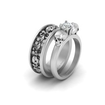 1 Carat Moissanite Solitaire Skull Engagement Ring Matching Fleur De Lis Band  - $3,974.99