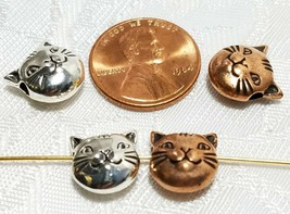 11mm Cat Face Bead 3d Fine Pewter Bead 10.5x11x5mm; 2mm Hole image 2