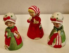 Vintage -Jasco -Lot of 3 Meri-Bells Porcelain Bell Figs - $9.89