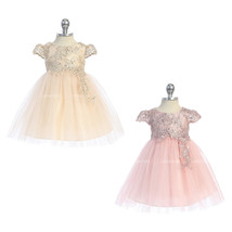 Sequins Floral Embroidery Lace Bodice Infant Baby Girl Dress - $38.95