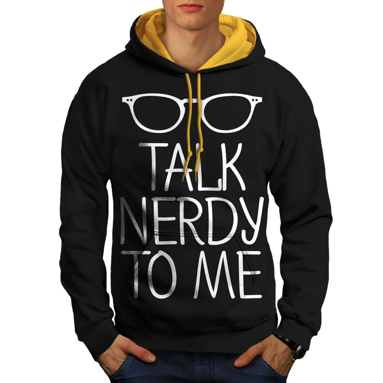 Primary image for Talk Nerdy To Me Sweatshirt Hoody Geek Glasses Men Contrast Hoodie