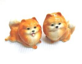 Pomeranian Puppy Dog Miniature Figurine Brown Ceramic Animal Paint Dollh... - $14.95