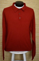 Vintage 90s Men's Burgundy Cashmere Sweater Club Room Johnny Collar XL XXL - £30.68 GBP