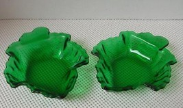 2 Vint Anchor Hocking Forest Green Maple Leaf Shape Candy Dishes Small Nut Bowls - $11.63