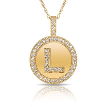 """14K Solid Yellow Gold Round Circle Initial """"L"""" Letter Charm Pendant Neck... - $30.99+"""