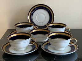 Rosenthal Germany Eminence Cobalt Blue and Gold Cup and Saucers Set of 5 - $179.00