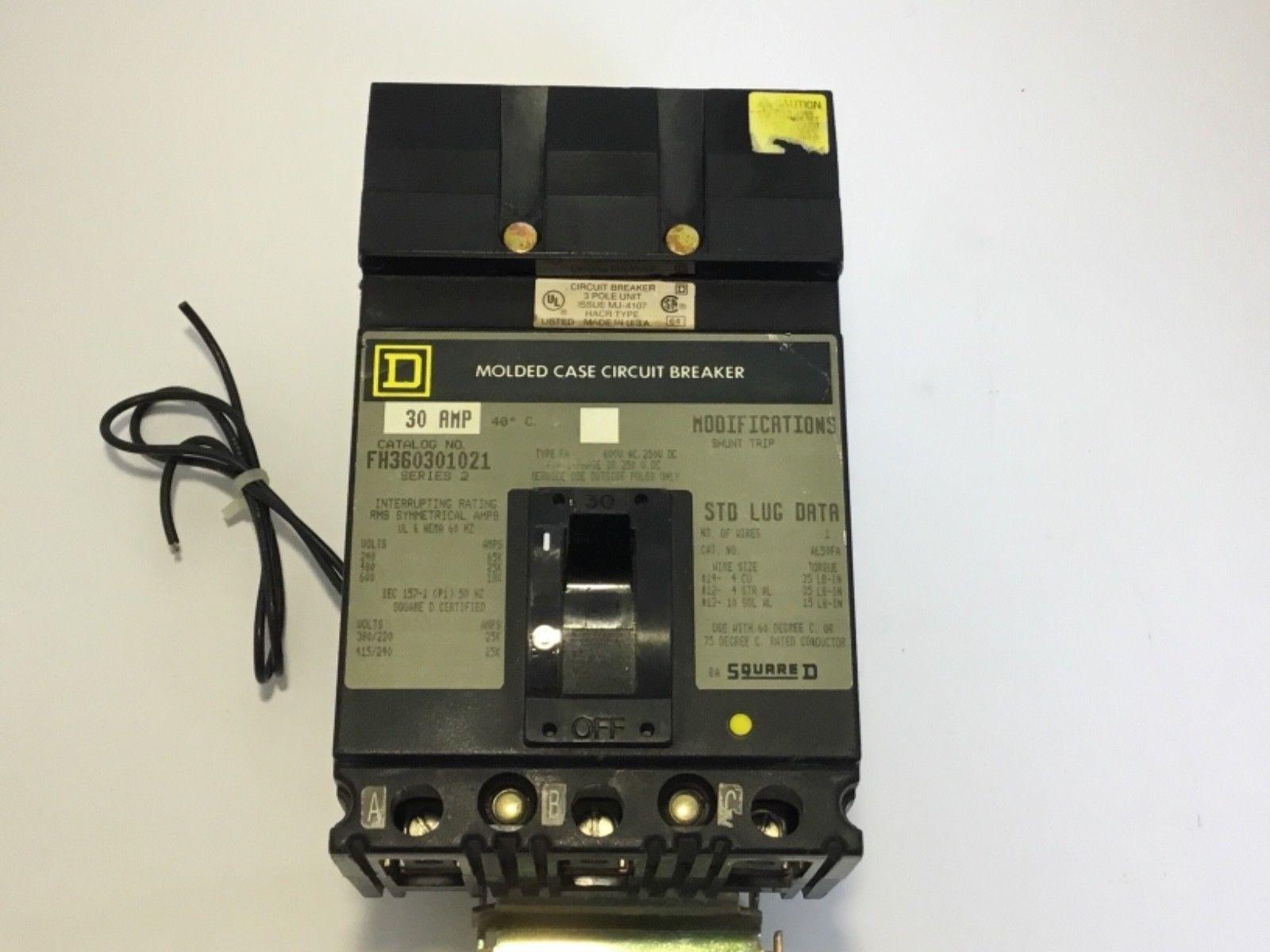 Square D KA361501021 Circuit Breaker Shunt Trip Used I-Line 150 Amp
