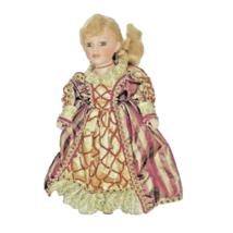 Vintage Porcelain Doll Blonde Hair Green Eyes Cloth Body Queen Dress Col... - $33.66