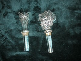 2 Clear Chrystal Wine Bottle Stoppers Plus Bonus all Mint Condition Grapes - $19.75