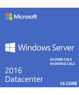 WINDOWS SERVER 2016 DATACENTER 16CORE WITH 50 USER CALS + 50 DEVICE CALS - $397.00