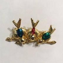 Vintage Enamel and Rhinestone 3 Three Birds on a Branch Brooch Pin J0586 - $12.34