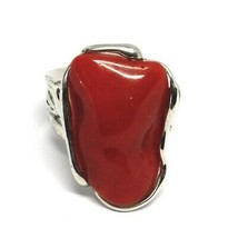 925 SILVER RING, RED CORAL NATURAL CABOCHON, MADE IN ITALY image 2