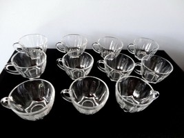 Set of 11 Vintage Clear Glass Punch Bowl Cups with Star Cut Bottom - $11.87