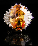 HUGE Imperial Topaz Costume ring - Yellow citrine - baguette cocktail ri... - $125.00