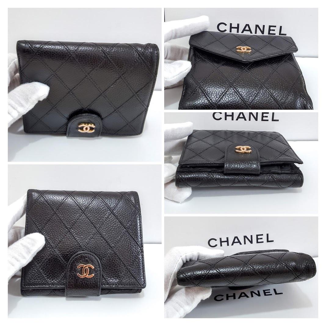 Auth Chanel Diamond Stitch Gold CC Caviar 2 in 1 Wallet Mini WOC Crossbody Bag image 2
