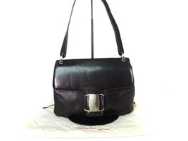 Authentic SALVATORE FERRAGAMO Leather Black Shoulder Bag FS5774L - $129.00