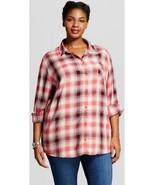 NWT 3X Ava & Viv Pink Burgundy Plus Size Button Down Plaid 24W 26W - $9.74